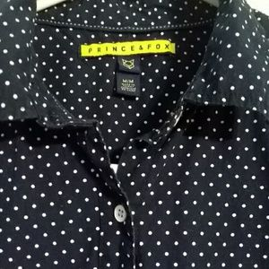 3/$15 Polka-dotted Navy dress shirt
